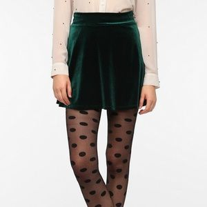 Green velvett urban outfitters mini skirt
